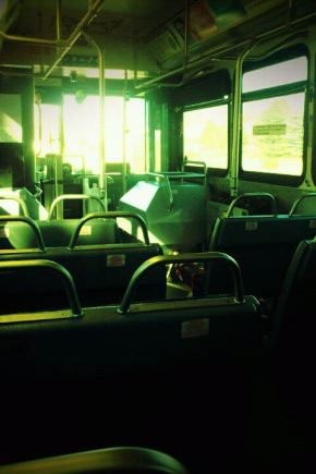 Photo of the inside of a bus.