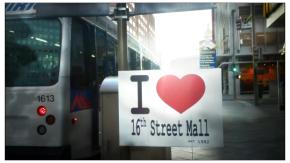 "Photo of a sign that says, ""I heart the 16th Street Mall""."