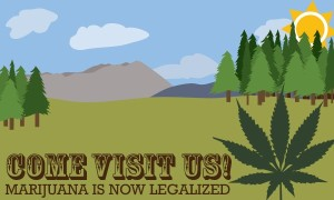 Graphic that signs Come Visit Us! Marijuana Is now Legal.