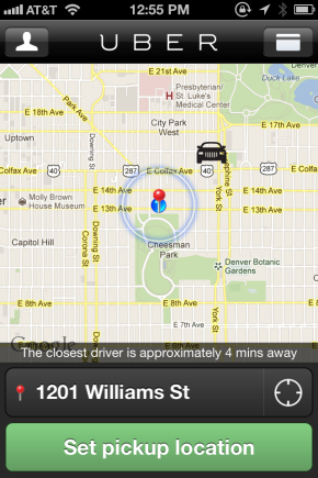 Image of the Uber app.