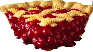 Photo of a slice of cherry pie.
