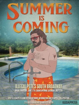 Poster for Illegal Pete's Grand Opening weekend.